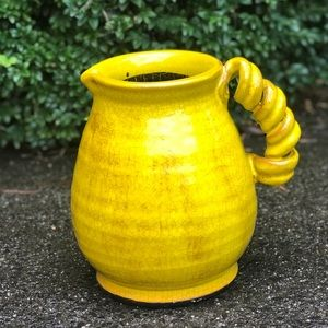 Beautiful Yellow Crackle Jug - Home Decor